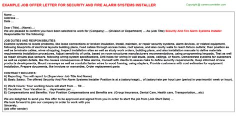 Security System Installer Cover Letter by Security And Alarm Systems Installer Offer Letter Sle