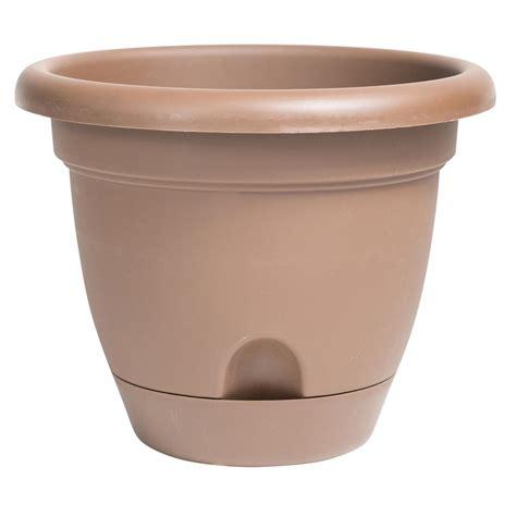 self watering pots algreen valencia 14 in square brown marble polystone