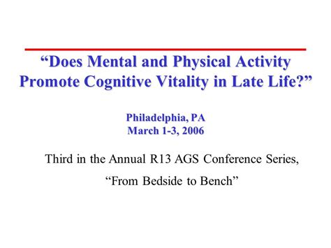 from bedside to bench third in the annual r13 ags conference series from