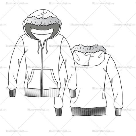 illustrator pattern outline women s fur hoodie fashion flat template illustrator stuff