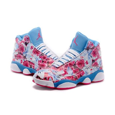 pink nike basketball shoes womens womens air 13 retro pink white blue price 85 00