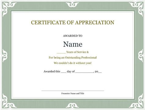 certificate for years of service template printable years of service certificate template ms word