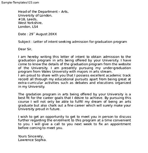 Letter Of Intent Psychology Exle Letter Of Intent Graduate School Sle Sle Templates