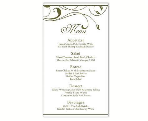 free wedding menu template for word wedding menu template diy menu card template editable text word file instant green menu
