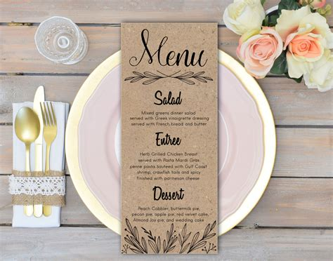 Menu Table Cards Template by Rustic Wedding Menu Cards Rehearsal Dinner Menu Rustic Wedding