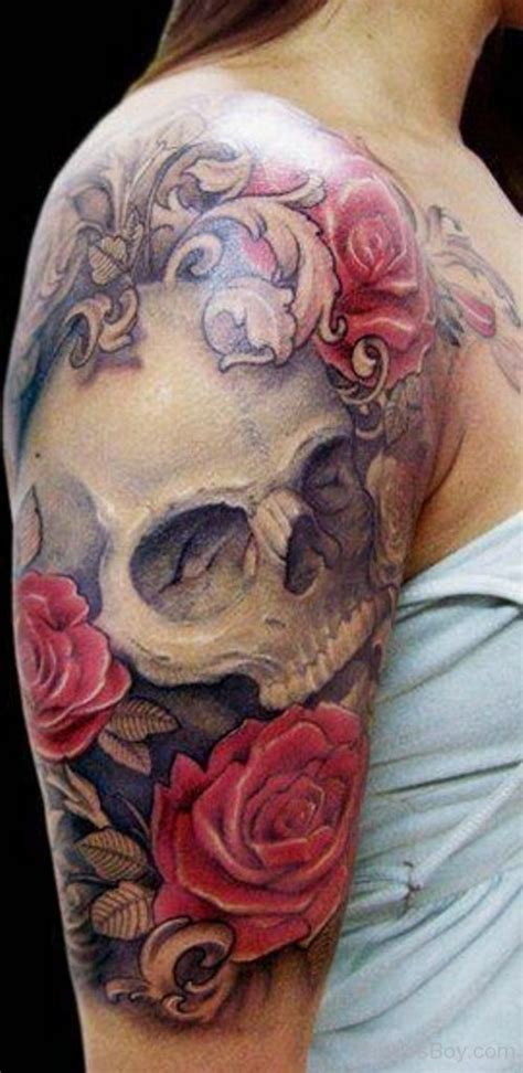 skull and rose half sleeve tattoos flower tattoos designs pictures page 3