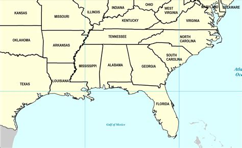 map of southern states map of southern united states world map 07