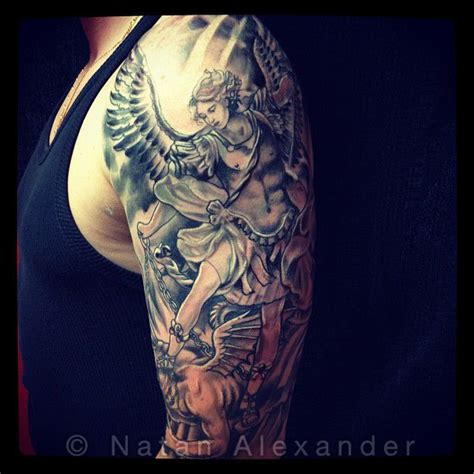 st michael sleeve tattoo designs st michael color tattoos st michael by natan