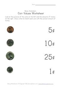 Coin Values Worksheet matching coin to value assessment classroom math