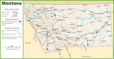 usa montana map usa map with states and landforms