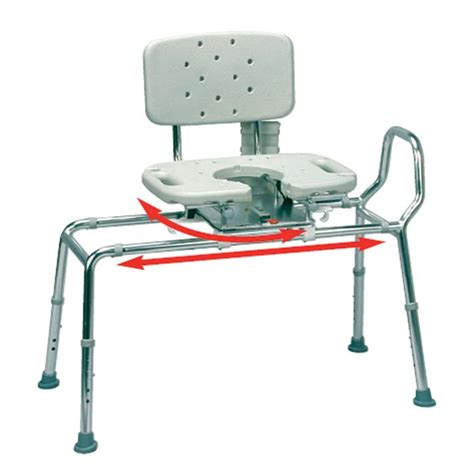 sliding transfer bench with cutout swivel seat