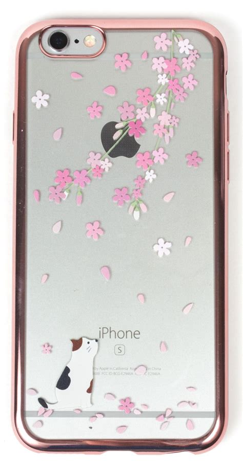 iphone   case yogacase metaledge cover cat  cherry blossoms rose gold