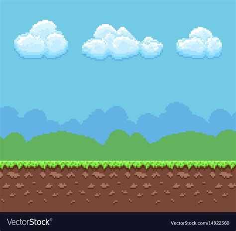 8 bit background pixel 8bit background with ground and vector image