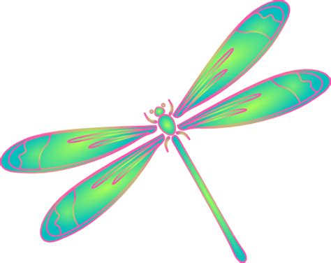 dragonfly clipart dragonfly in flight blue green pink clip at clker