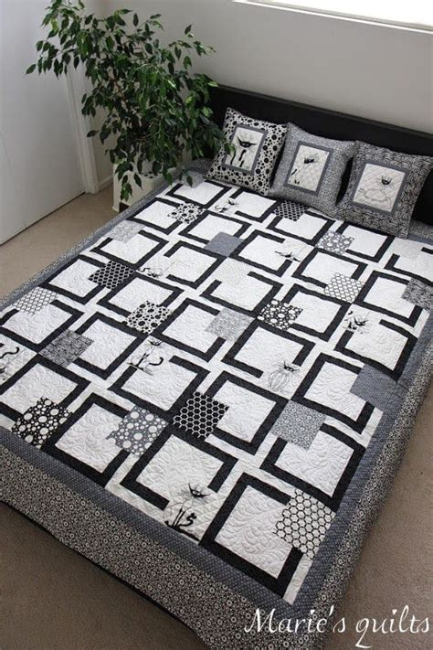 Black Patchwork Quilt - s quilts quilts black and white