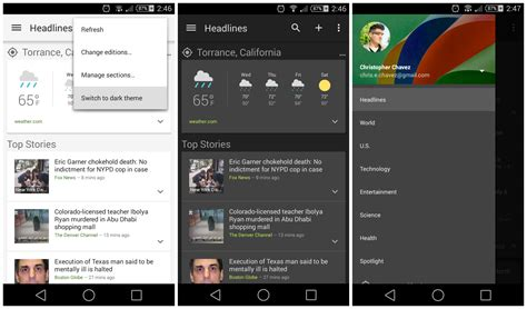 theme google today google news weather updated with dark theme option