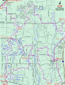 Michigan Snowmobile Trail Map by Michigan Snowmobiling Blue Bear Snowmobile Trail Map