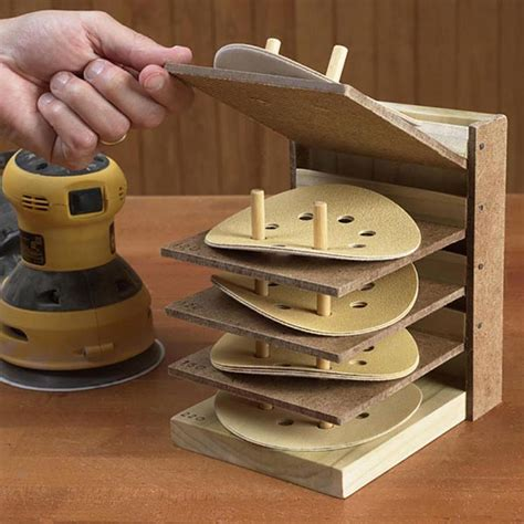 woodworking sanding flip up sanding disc caddy woodworking plan from wood magazine