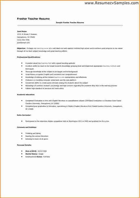 exles of resumes for teachers sle resume for fresher teachers svoboda2