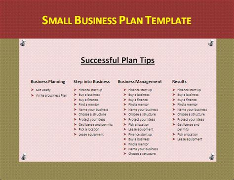 entrepreneur business plan template small business plan template formsword word templates