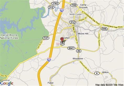 kentucky map corbin map of quality inn corbin corbin