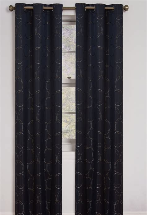 black eclipse curtains meridian grommet blackout window panel in black