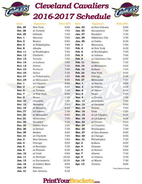 printable schedule nba printable cleveland cavaliers basketball schedule 2015 2016