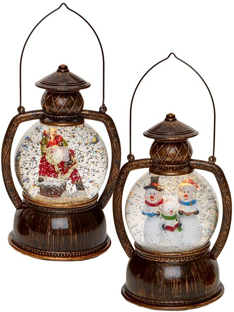 glittering christmas battery operated snow globes light up glitter water snow globe hurricane lantern led decoration ebay