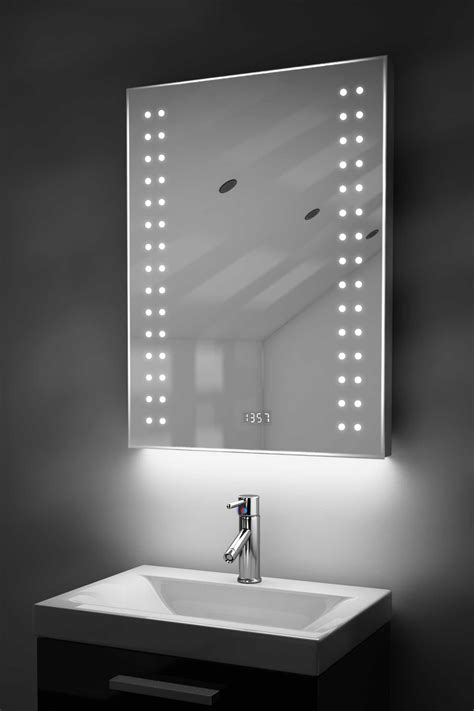Bathroom Mirror With Clock Bathroom Clock Mirror With Underlighting Bluetooth Demist Sensor K187waud Ebay