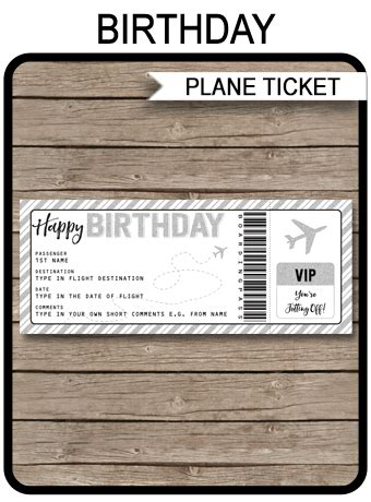 Printable Birthday Boarding Pass Gift Ticket Plane Ticket Voucher Airline Ticket Gift Template