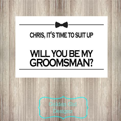 printable groomsman invitation diy printable personalized will you be my groomsman card