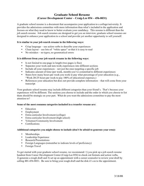 Resume Sle For Admission To Graduate School Resume Template For Graduate School Application 25 Images 8 Curriculum Vitae For Graduate