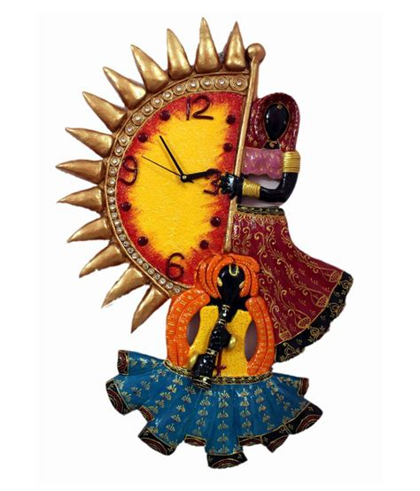 Home Design Decor App Review Ethnic India Art Rajasthani Women Design Wall Clock Buy