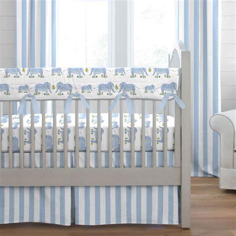 blue painted elephants crib bedding carousel designs