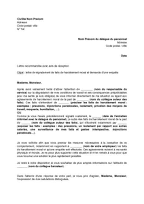 Exemple De Lettre Harcelement Modele Lettre Licenciement Harcelement
