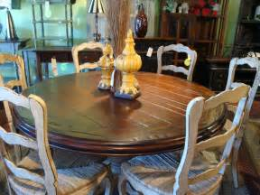 Country Dining Table And Chairs 60 Quot Carved Pedestal Dining Table Country Reclaimed Top Country Tables