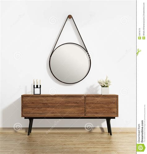 Scandinavian Living by Console Table With Captain S Round Mirror Stock Photo