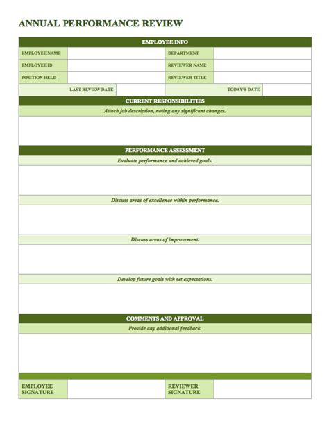 employee performance review template sles and templates