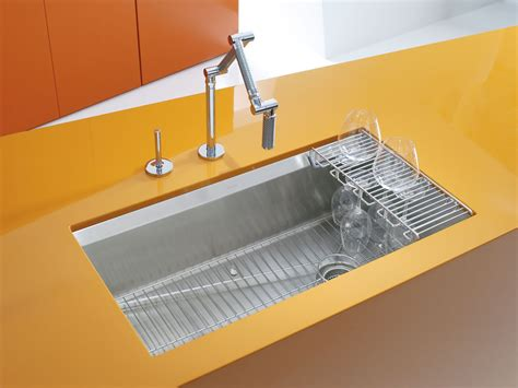 Kitchen Sink Racks Stainless Standard Plumbing Supply Product Kohler K 3673 Na 8 Degree Undermount Single Bowl Kitchen