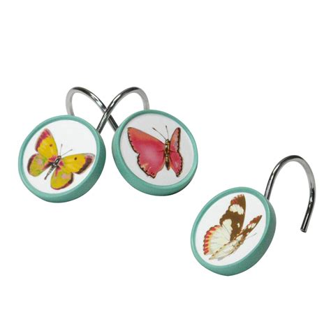 butterfly shower curtain hooks essential home tahka butterfly shower curtain hooks