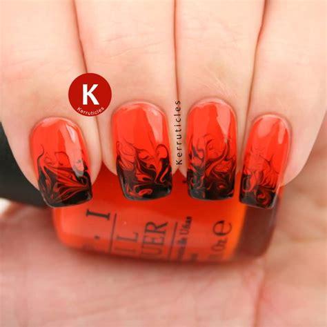 Orange And Black Nail Designs
