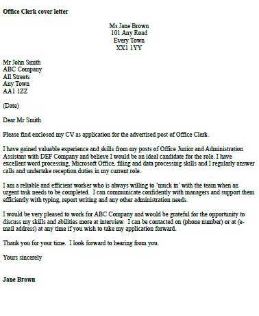 cover letter clerk exles office clerk cover letter exle icover org uk