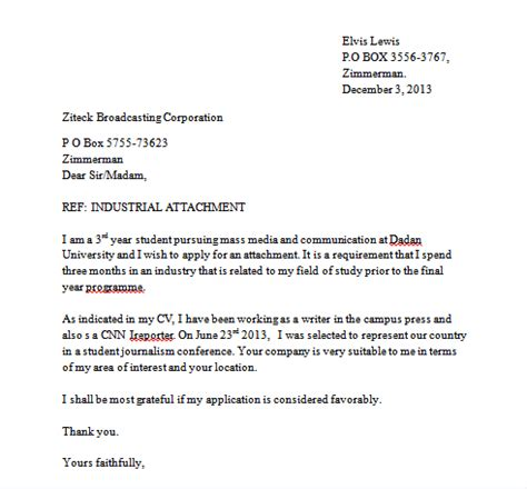 sample industrial attachment letter write
