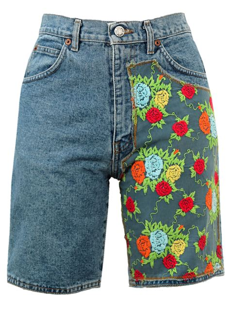 Floral Embroidery Denim Shorts denim shorts with floral embroidery detail s vintage