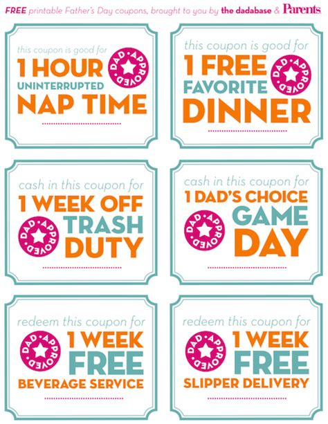 free printable father s day coupon gift idea pictures