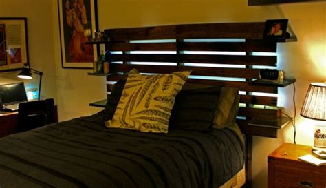 pallet bed headboard  shelves pallet ideas