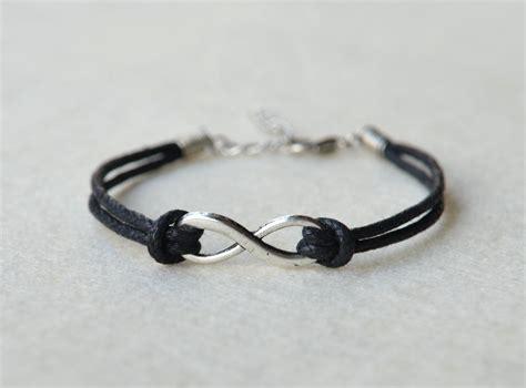 silver infinity bracelet charm black wax cord by misskids