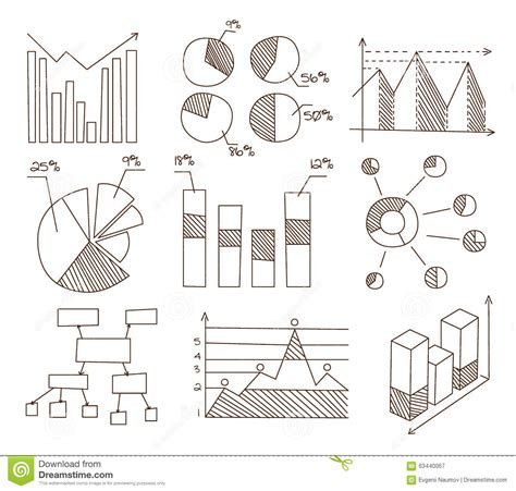 graph and diagram icon set stock vector illustration of graphs charts and diagrams hand drawn business stock