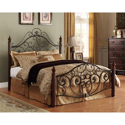 wood and metal bed adison ii queen metal bed walmart com