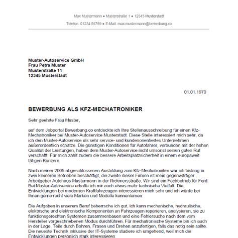 Bewerbungsschreiben Ausbildung Kfz Mechatroniker Muster Bewerbung Als Kfz Mechatroniker Kfz Mechatronikerin Bewerbung Co